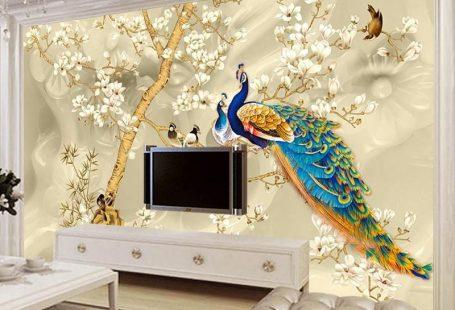 Custom Mural Wallpaper 3D Stereo Magnolia Flowers Peacock Wall Paintin - LifeMulti.com