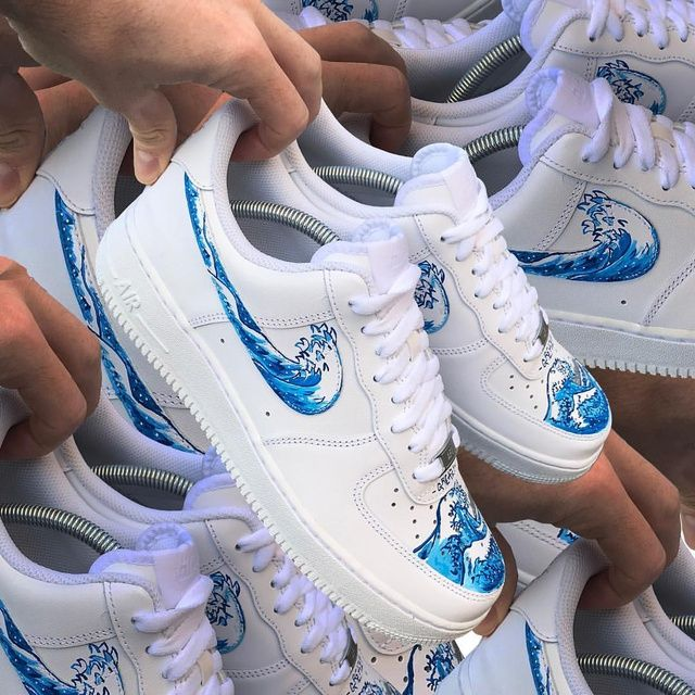 This limited / hype custom Nike Air Force One shoe is handmade and hand painted with acrylic paints (it is both a men's and women's sneaker, a unisex sneaker and a perfect birthday gift or purchase for a sneakerhead). It is available now on The Custom Movement by greazytakesall, one of many talented artists you can find on The Custom Movement.