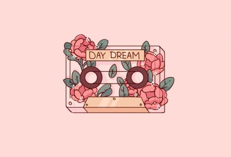Cute Pink Romantic Transparent Cassette Flower Plant Phone Wallpaper Doodle Drawing by Poyura #cutewallpaper #adorable #cassettedrawing #doodle