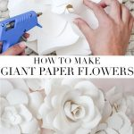 How to Make Giant Paper Flowers: Get the full tutorial on these beautiful paper flowers made from French paper. These flowers are perfect for a baby girl nursery, girls room, or a beautiful wall treatment in your home! #paperflowers #walltreatment