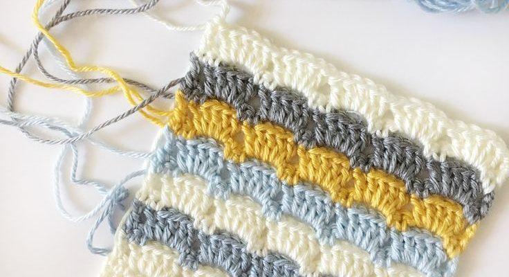 Modern crochet geometric baby blanket. This blocked box stitch makes a beautiful afghan. Free pattern.