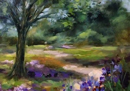 Dallas Arboretum Blue Iris Path by Texas Flower Artist Nancy Medina by Nancy Medina