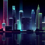 Dark, cityscape, buildings, colorful, illustration Wallpaper