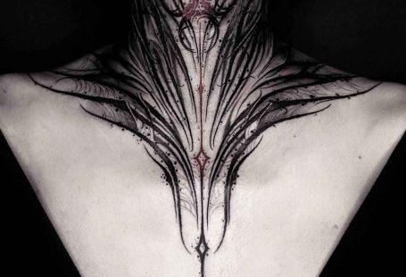 Tattoo artist YZTATTOO BBK authors style darklettering blackwork tattoo