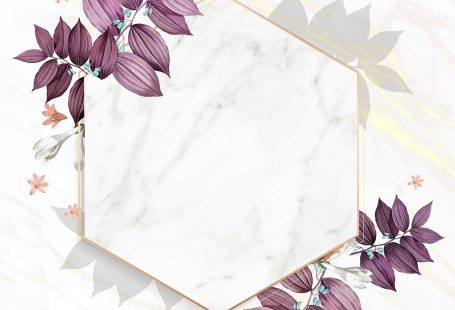 Hexagon foliage frame on white marble background vector