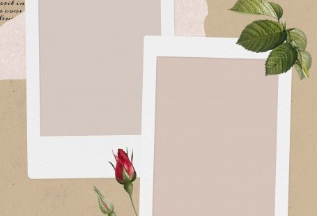 Blank collage photo frame template on beige background vector
