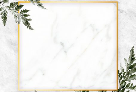 Square golden frame on a marble background