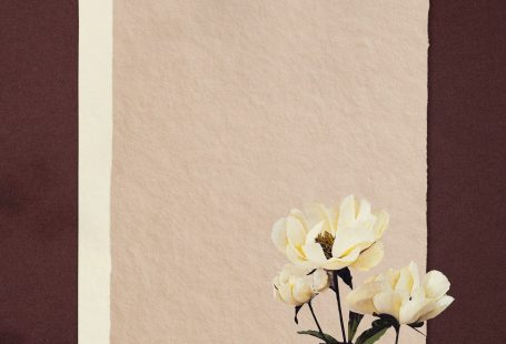 White peonies on paper textured background illustration