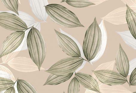 Vintage beige tropical leafy background