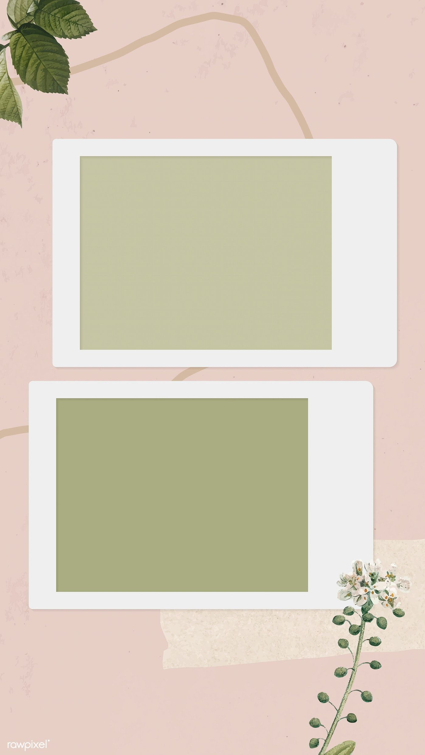 Blank collage photo frame template on pink background vector mobile phone wallpaper   premium image by rawpixel.com / NingZk V.