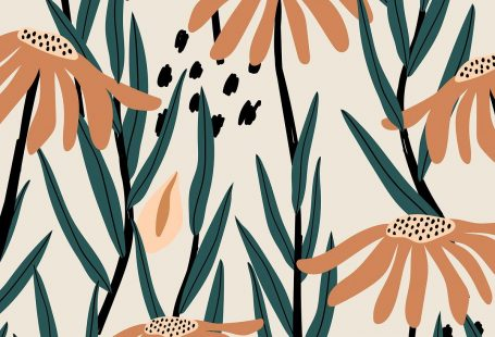 Brown daisy patterned beige background vector