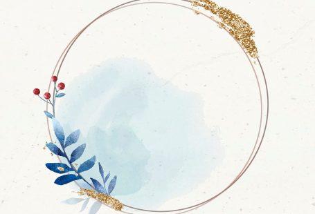 Christmas golden round frame on beige paper background vector