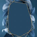 Hexagon foliage frame on blue background vector