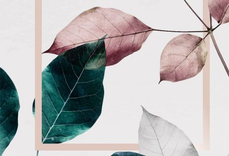 Pink and green leaves with pink square frame, 4k iphone and mobile phone wallpaper