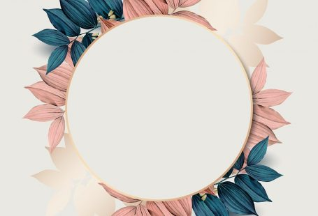 Round gold frame on pink and blue leaf pattern background vector