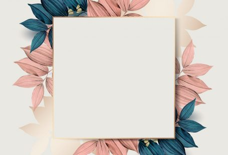 Square gold frame on pink and blue leaf pattern background vector