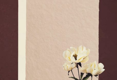 White peonies on paper textured background vector