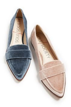 Sleek loafers in blue and pink velvet. Style these flats with skirts & dresses in summer and jeans in fall! | Sole Society Edie