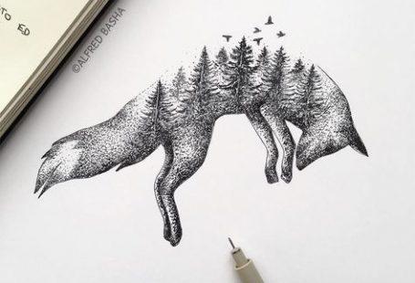 Er schafft überraschende Illustrationen die Natur und Tiere vermischen