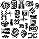 Background with African motifs over white background photo