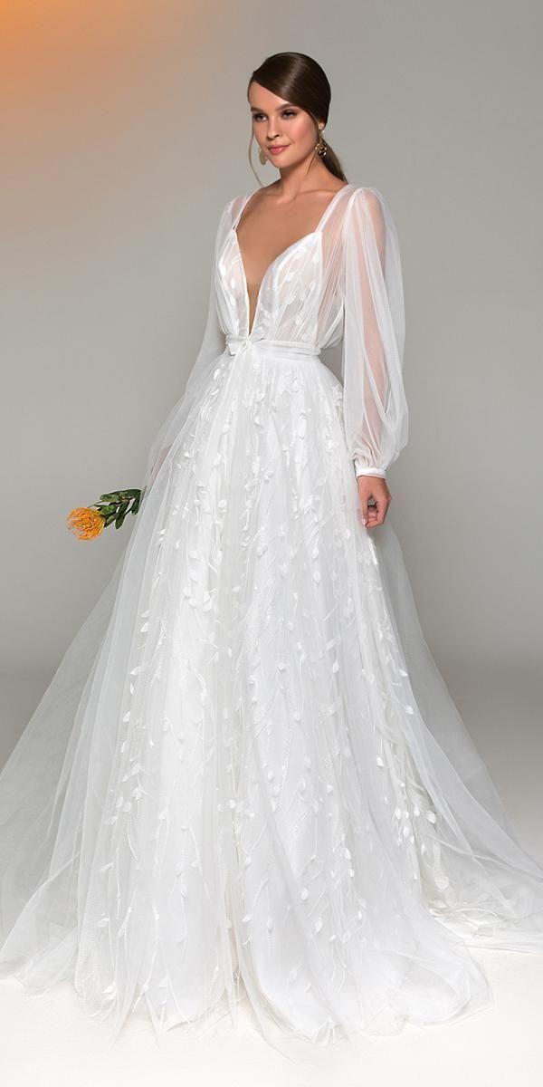 Eva Lendel Wedding Dresses You'll Be Surprised ❤️ eva lendel wedding dresses a line plunding neckline with straps long sleeves ❤️ #weddingdresses
