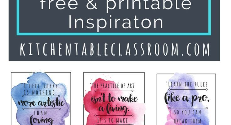 Let these free, printable quotes inspire you to be an artist or at least think like an artist.  Quotes by your favorite famous artists are easy to print and display in a classroom or office space.