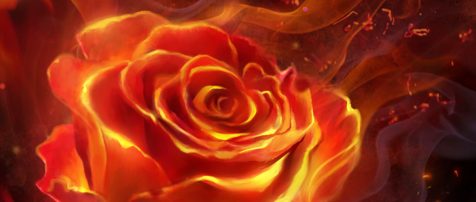 Fiery rose and butterfly! flame live wallpaper