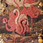 """""""Flamingo"""",wall seashell mosaic from Marina Alexandrova."""