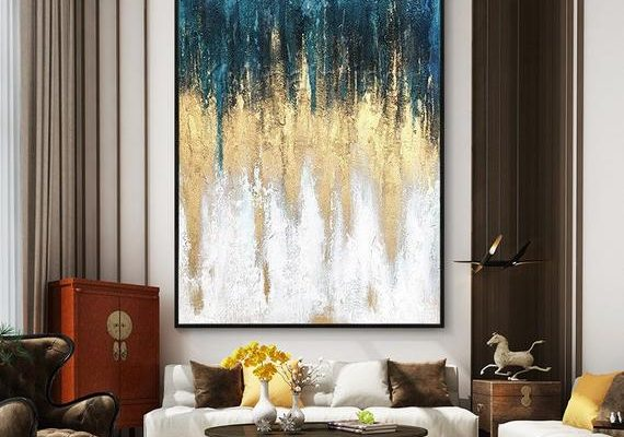 Original Modern Abstract acrylic Painting on canvas art Gold nordic Extra large abstract wall pictures home decor texture cuadros abstractos #OriginalPainting #AbstractPainting #CanvasPainting
