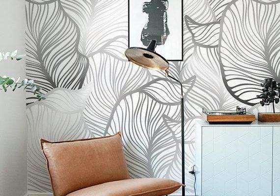 GRAU-Blatt-Tapete installieren exotische Blätter Tapete
