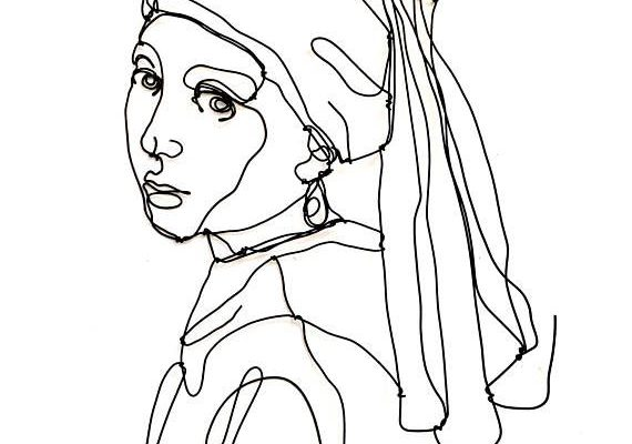Girl with a pearl earring Wire wall sculpture  Girl #girlwithapearlearring #wire #art #sculpture #style