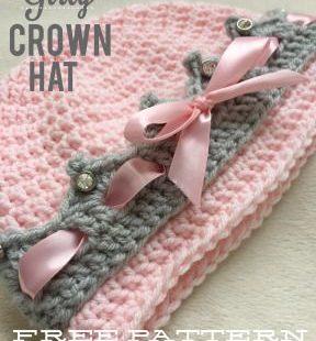 Girly Crown Hat.  FREE crochet pattern!
