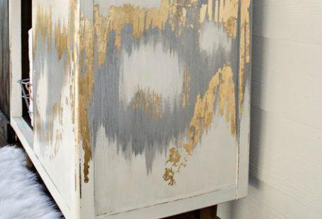 Metallic silver and gold leaf finish for furniture. #dododsondesigns #goldleaf #metallicsilver #metallic