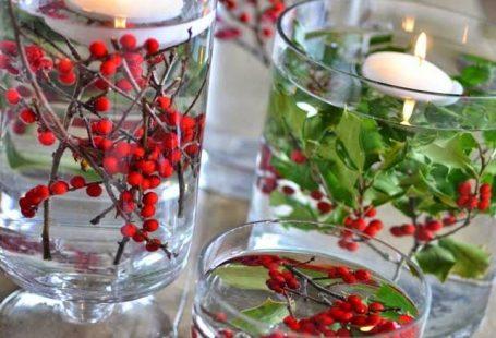 Hollies and red berries - beautiful winter DIY wedding center piece.