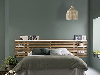 Hoofdbord met planken NIDRA hout en witte Scandinavische stijl  #hoofdbord #hout #met #NIDRA #planken