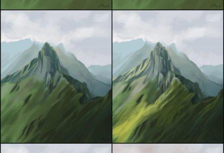 How to paint green mountain summit scene. Digital Painting of mountains in Switz...  How to paint green mountain summit scene. Digital Painting of mountains in Switzerland. Background  #Digital #green #mountain #Mountains