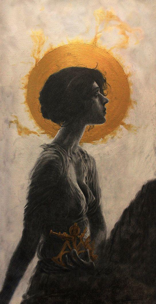 Hypatia. Illustration. Graphite on canvas. Art print. 12