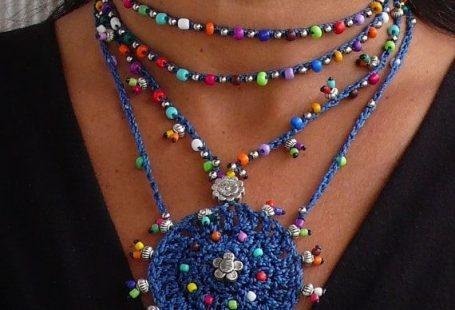 Indigo blue TRIBAL MANDALA crochet NECKLACE boho by PanoParaTanto