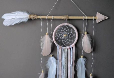 Pink arrow nursery dream catcher/ large baby mobile/ Large arrow wall hanging/ Shabby chich dreamcatcher