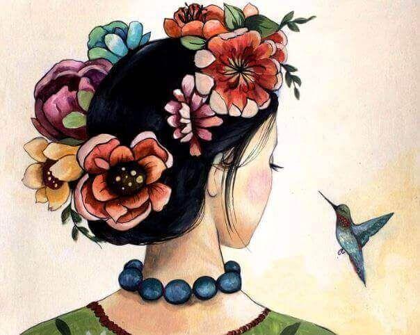 Muchacha y colibrí