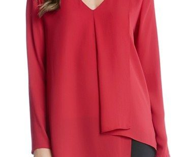 Free shipping and returns on Karen Kane Draped Asymmetrical Top at Nordstrom.com. A softly folded layer drapes one side of a silky crepe top from the deep V-neckline to a chic, angled front hem.