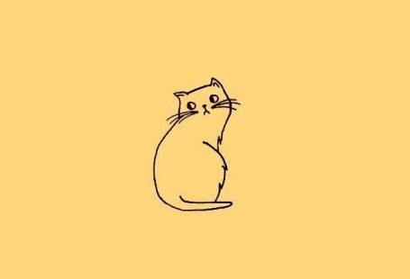 Katze Gekritzel Tapete in Sonnenblumengelb (vom Original bearbeiten)   - Yellow - #bearbeiten #Gekritzel #Katze #Original