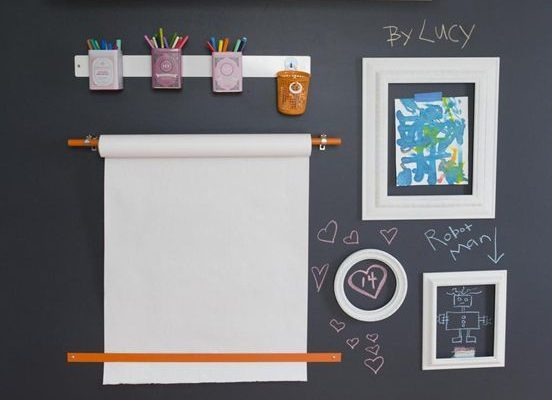 Kid spaces should be a place where the children can go hang out and enjoy their toys, do arts and crafts and have things accessible at their height. This chalkboard wall is so fun! What a great use of wall space and organizational tools that is chic and functional. A-Z Home Decor Trend 2014: Kid Spaces - Alice T. Chan