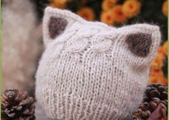 Kitty-Katzen-Hut-Strickmuster-Größen-Baby zum Erwachsenen geben frei-    Stricken Sie einfache Kätzchen oder Fox Ears Beanie bezahlt Muster - Fun Kitty Cat Hat Strickmuster      -  knithat3.decordiy...-