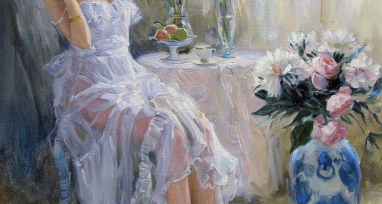Konstantin Razumov (born 1974): A girl and flowers.  Oil on canvas, 41 × 33cm
