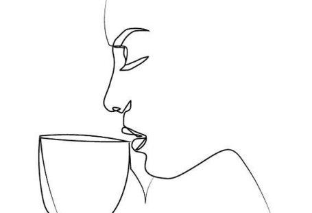 Minimal A4 Woman Drinking Coffee Art One Line Art Modern