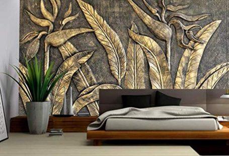 Murwall 3D Embossed Wallpaper Gold Sculpture Wall Mural Paradise
