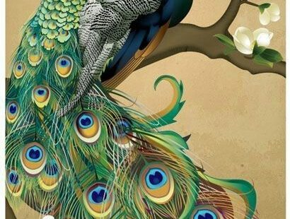 NEEDLEPOINT Canvas 14 or 18 count_Abstract Art, Needlepoints, Peacock Bird #Zweigart