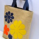 Flowers  jute tote bag large handmadeartisticappliqued  by Apopsis