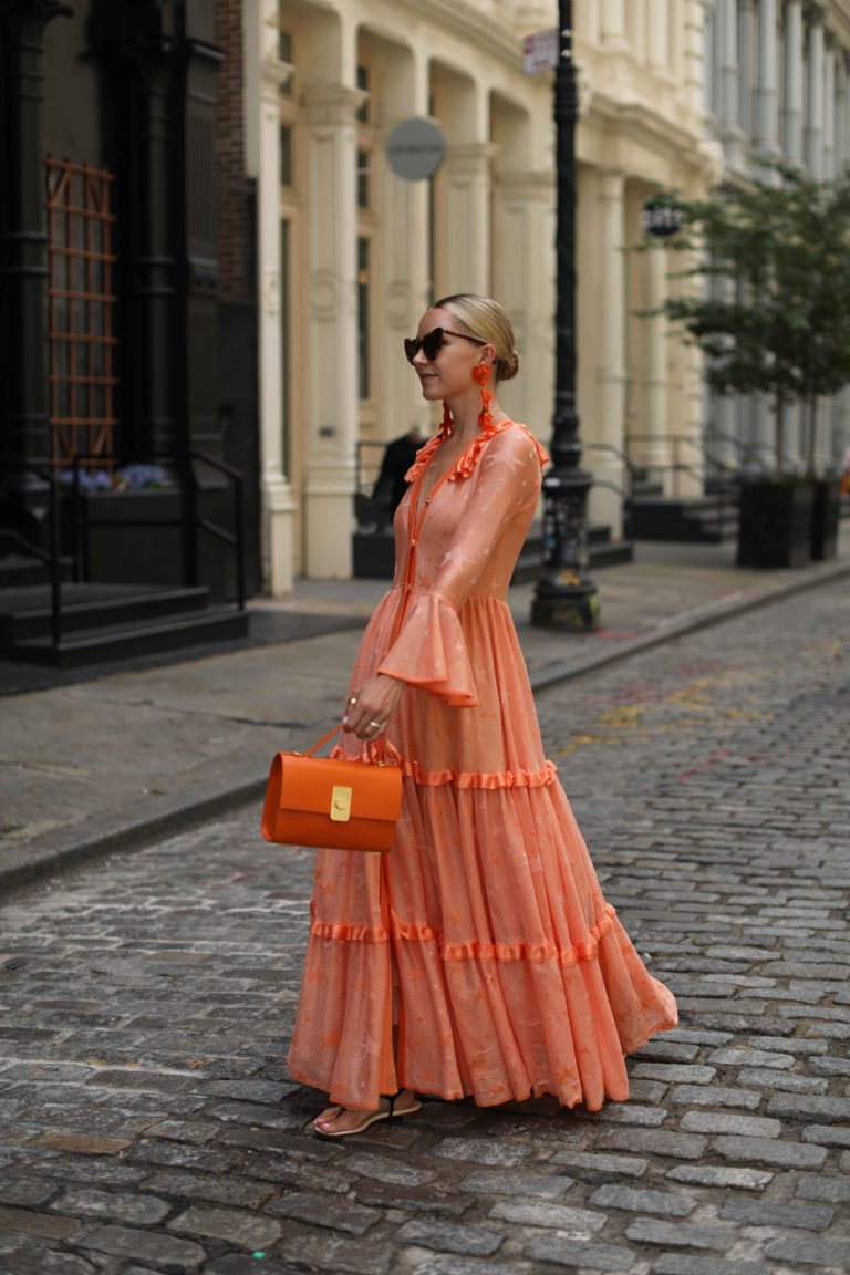 Sunset Shades // Blair Eadie wears an orange maxi dress by Kukhareva, earrings by Dinosaur Designs, and a Flynn bag // Click through to Atlantic-Pacific for more images as well as Blair's orange picks for summer!